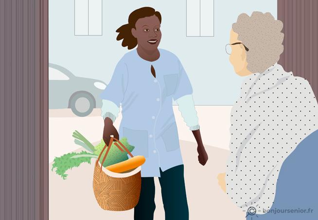 Illustration aide aux courses